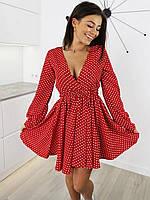 Нарядное платье с длинным рукавом из ткани софт, 00297 (Красный), Размер 46 (L)