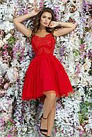 Платье на тонких шлейках с открытой спиной из дорогой ткани, 00098 (Красный), Размер 42 (S)