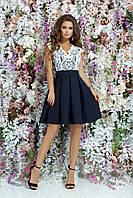 Гипюровое платье с большим бантом сзади, 00105 (Синий), Размер 46 (L)