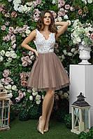 Комбинированное платье с пышной юбкой и гипюровым верхом, 00262 (Кофе с молоком), Размер 44 (M)