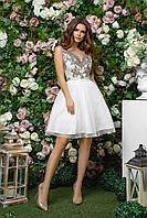 Нарядное платье с пышной юбкой с сеткой и гипюровым верхом с открытой спиной, 00263 (Белый), Размер 44 (M)