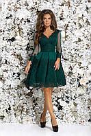 Платье для свидетельницы из гипюра с длинным рукавом, 00106 (Зеленый), Размер 42 (S)
