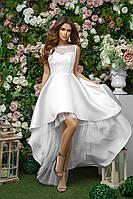 Свадебное платье с шлейфом из королевского атласа и гипюра, 00278 (Белый), Размер 42 (S)