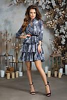 Платье из шелка с принтом и трехъярусной юбкой, 00216 (Серый), Размер 44 (M)