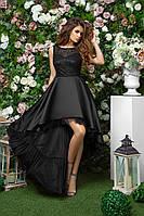 Вечернее платье с шлейфом для торжества, 00279 (Черный), Размер 46 (L)