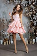 Праздничное новогоднее платье с пышной юбкой и гипюром, 00228 (Розовый), Размер 42 (S)