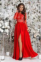 Шелковое платье в пол с разрезом и вышивкой на сетке, 00033 (Красный), Размер 46 (L)