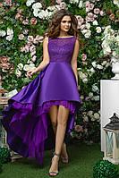 Платье для подружки невесты из королевского атласа с гипюром и шлейфом, 00276 (Фиолетовый), Размер 46 (L)