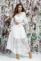Платье на свадьбу из вышитого гипюра с подкладкой, 00081 (Белый), Размер 44 (M)