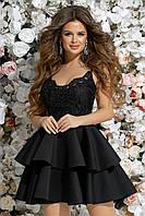 Короткое гипюровое платье с пышной юбкой, 00011 (Черный), Размер 46 (L)