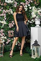 Вечернее платье с пышной юбкой и гипюровым верхом, 00246 (Черный), Размер 44 (M)