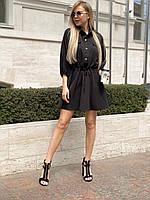 Платье на каждый день на весну для стильных девушек, 00302 (Черный), Размер 44 (M)