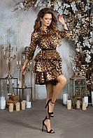 Шелковое платье с леопардовым принтом и рукавом ¾, 00217 (Коричневый), Размер 44 (M)