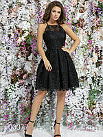 Вечернее платье с пышной юбкой и открытой спиной, 00077 (Черный), Размер 46 (L)