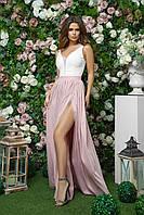 Длинное платье для выпускниц с разрезом на юбке из костюмной ткани и софт с сеткой, 00255 (Розовый), Размер 44 (M)