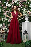 Платье длинное из габардина с сеткой и гипюром для торжеств, 00269 (Бордовый), Размер 42 (S)