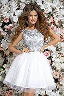 Платье с пышной юбкой и гипюровым верхом, 00056 (Белый), Размер 44 (M)