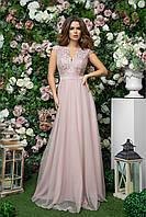 Платье в пол для подружки невесты из габардина с гипюровой отделкой и сеткой, 00270 (Розовый), Размер 44 (M)