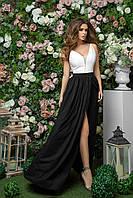 Классическое длинное платье для торжественных событий с разрезом на юбке, 00257 (Черный), Размер 46 (L)