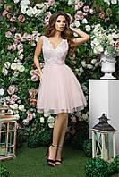Платье с пышной юбкой с сеткой  и гипюровым верхом с открытой спиной для выпускного, 00260 (Розовый), Размер 44 (M)