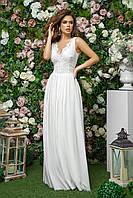 Свадебное платье длинное с разрезом и с вставками гипюра и сетки, 00242 (Белый), Размер 42 (S)