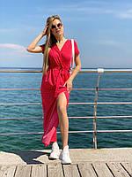 Летнее платье миди на запах в груди и на юбке из легкой ткани софт, 00304 (Красный), Размер 44 (M)