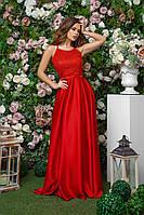 Длинное платье для торжественных случаев из шелка и гипюра на шлейках, 00252 (Красный), Размер 44 (M)