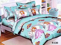 Подростковый полуторный комплект постельного белья Принцесса София 2 , ранфорс 100% хлопок, Украина