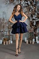 Вечернее платье в стиле 50-х с пышной юбкой, 00232 (Синий), Размер 46 (L)