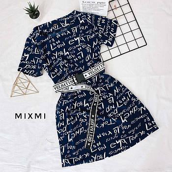 Платье легкое для молодежи с принтом, 00312 (Синий), Размер 42 (S)