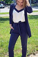 Костюм-тройка женский в полоску из крепкостюмки, 00139 (Синий), Размер 48 (XL)