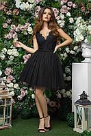Маленькое черное платье с пышной юбкой и открытой спиной до колена для торжеств, 00264 (Черный), Размер 44 (M)