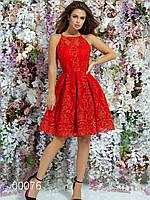 Платье с открытой спиной короткое из габардина с гипюром и пышной юбкой, 00076 (Красный), Размер 42 (S)