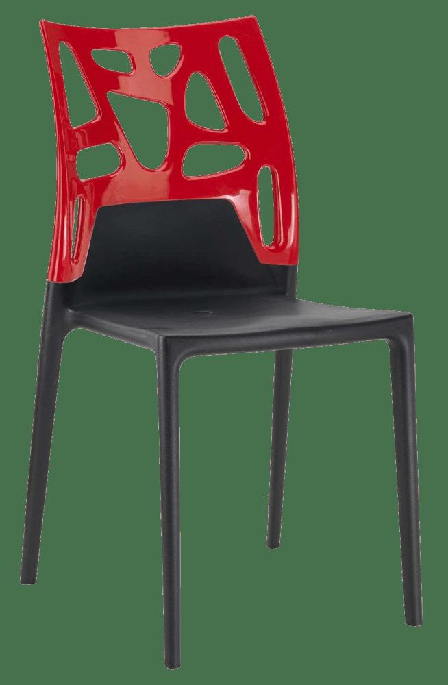 Стул Papatya Ego-Rock черное сиденье, верх красный