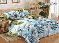 Подростковый полуторный комплект постельного белья Снеговики, ранфорс 100% хлопок, Украина