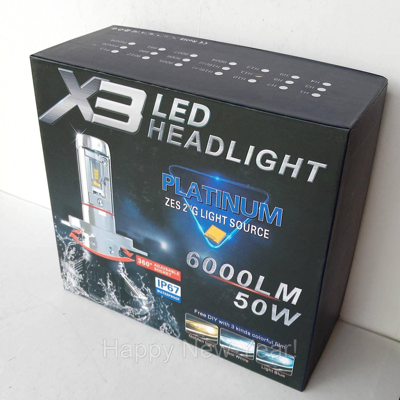 Светодиодные лампы для авто Turbo LED X3 H11, 6500K 50W, ближний/дальний, LED в авто, радиаторное охлаждение