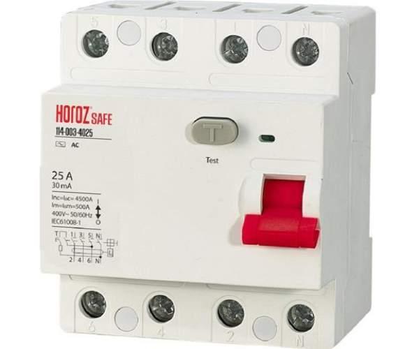 Диференціальний автомат SAFE 4Р 40А 30мА (Horoz Electric)