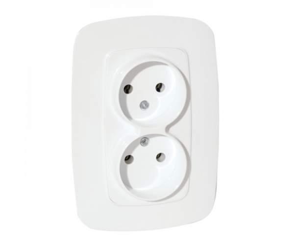 Розетка двойная белая ELA (Horoz Electric)