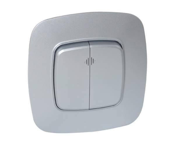 Выключатель 2-клавишный с подсветкой серебро ELA (Horoz Electric)