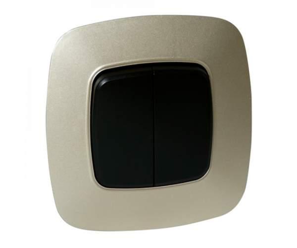 Выключатель 2-клавишный золото/черный ELA (Horoz Electric)