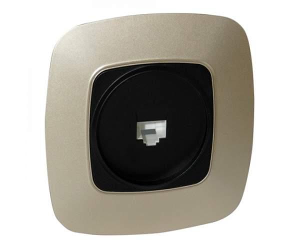 Розетка компьютерная золото/черный ELA (Horoz Electric)