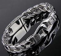 Мужской серебряный браслет Лотос Двойной удар 78 гр. 22,2 -22,7 см.