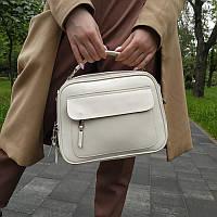 """Женская кожаная сумка-саквояж  """"Элизавет White 2"""""""