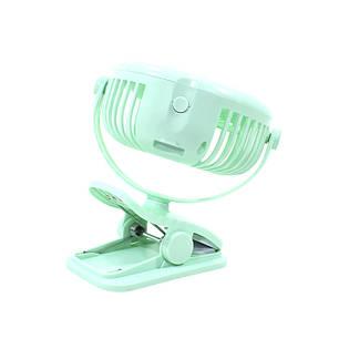 Мини вентилятор на прищепке Lesko JD-199 Green USB настольный переносной портативный с аккумулятором, фото 2