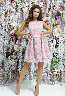 Гипюровое короткое платье с атласной подкладкой, 00092 (Розовый), Размер 46 (L)