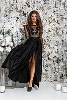 Платье в пол из шелка для вечернего выхода, 00032 (Черный), Размер 44 (M)