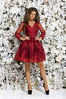 Платье для свидетельницы на свадьбу, 00107 (Бордовый), Размер 46 (L)