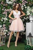 Выпускное платье с пышной юбкой и открытой спиной, 00261 (Персиковый), Размер 44 (M)