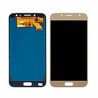 Дисплей (lcd экран) для Samsung J730 Galaxy J7 (2017) с золотистым тачскрином, с регулируемой подсветкой