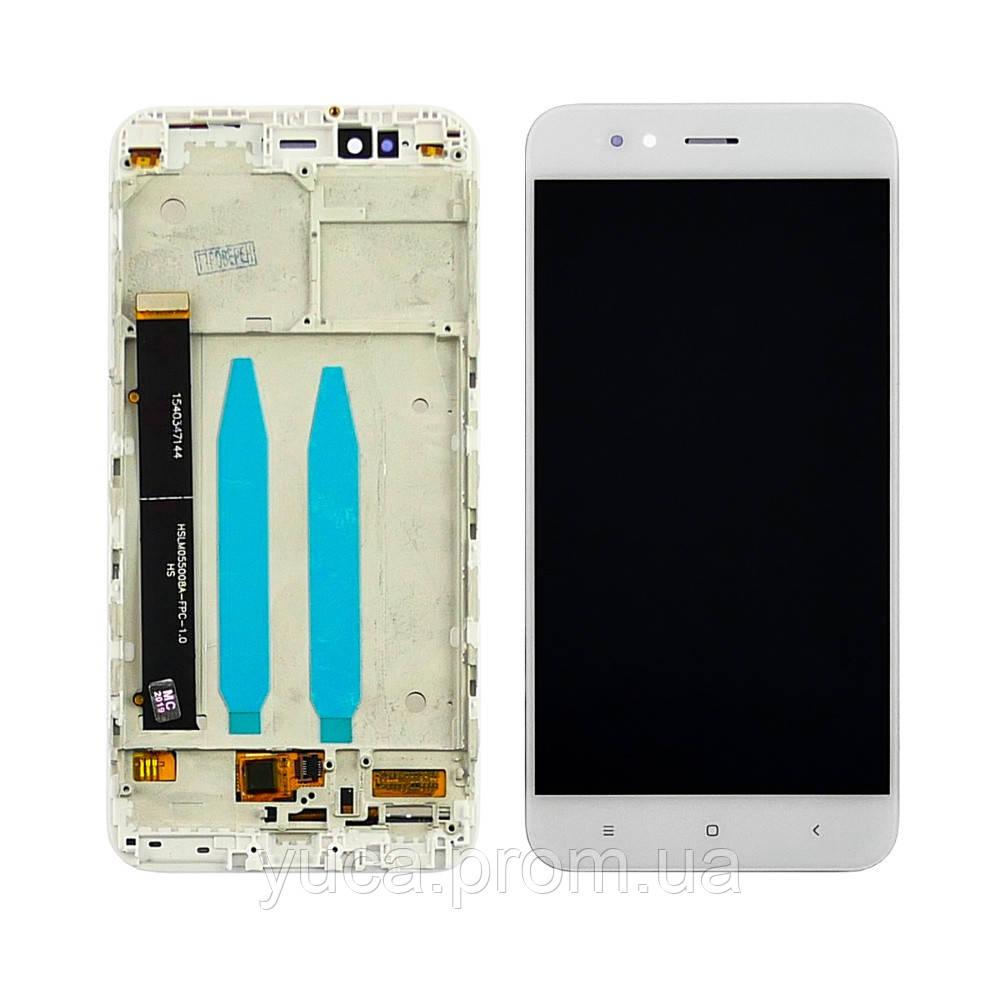 Дисплей для Xiaomi Mi5X/Mi A1 с белым тачскрином и корпусной рамкой